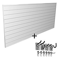 image of Proslat Mini Bundle 8-Foot x 4-Foot & 10-Piece Mini Hook Kit in White