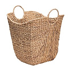 image of household essentials water hyacinth wicker basket with handles - Decorative Baskets