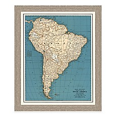 image of Framed Map of South America Wall Décor