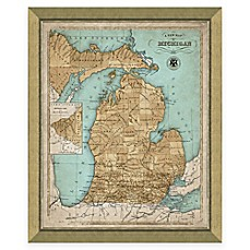 World map wall art world map decor bed bath beyond image of framed map of michigan wall dcor gumiabroncs Image collections