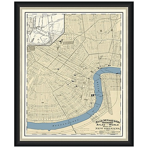 Buy framed new orleans map wall d cor in color from bed for Beyond the wall mural design