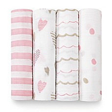 image of aden + anais® Heartbreaker 4-Pack Classic Muslin Swaddle Blankets in White/Pink