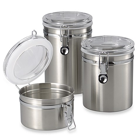 oggi kitchen canisters oggi brushed stainless steel canister bed bath amp beyond 14410