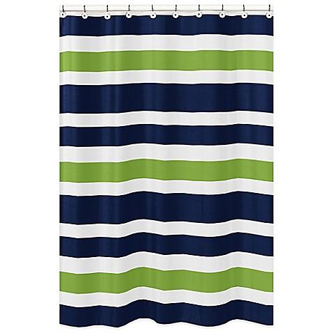 Sweet jojo designs navy and lime stripe shower curtain for Sweet jojo designs bathroom