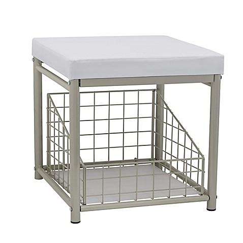 Buy taymor urban modern vanity stool in satin nickel from bed bath beyond for Bathroom vanity tray satin nickel