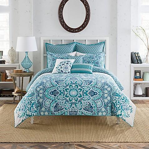 Anthology Kaya Reversible Comforter Set In Blue Bed