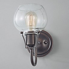 image of Feiss® Urban Renewal Wall Sconce in Rustic Iron with Clear Seeded Glass Shade