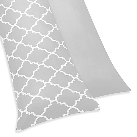 Sweet Jojo Designs Trellis Maternity Body Pillow Case in Grey/White
