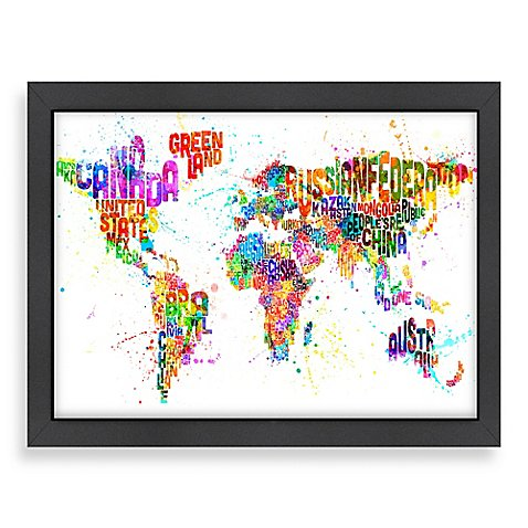 world map colour wall art with black frame bed bath beyond. Black Bedroom Furniture Sets. Home Design Ideas
