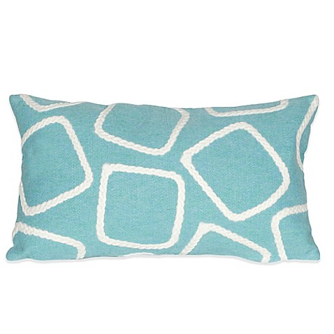 Liora Manne Squares 12-Inch x 20-Inch Outdoor Throw Pillow in Aqua - Bed Bath & Beyond