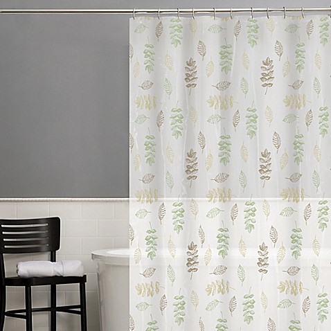 Foliage peva shower curtain in sage bed bath beyond Nature inspired shower curtains