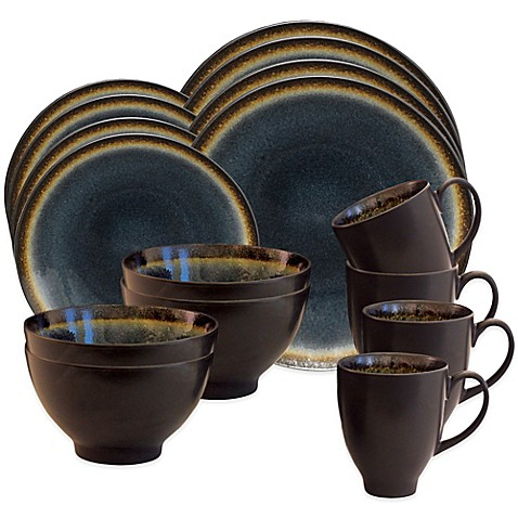 Baum Galaxy Coupe 16-Piece Dinnerware Set in Denim - Bed Bath & Beyond