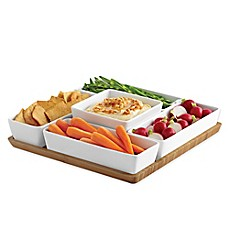 image of B. Smith 6-Piece Multi Server with Porcelain Bowls and Bamboo Tray Set