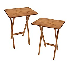 image of Lipper Bamboo Folding Snack Tables (Set of 2)