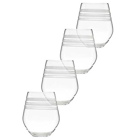 kate spade new york library stripe stemless wine glasses