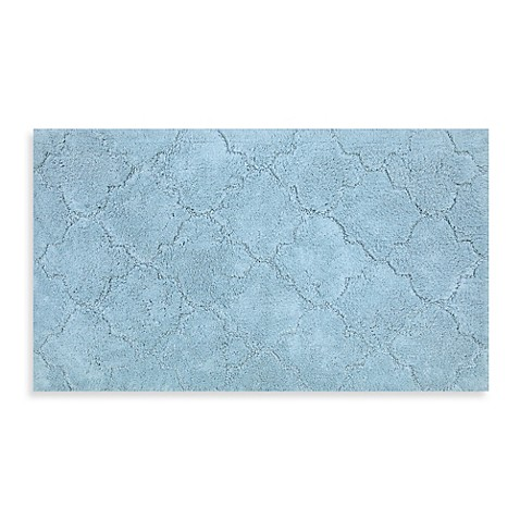 buy mohawk home avery collection 20 inch x 34 inch fretwork bath rug in blue from bed bath beyond