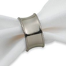 image of Beaded Elegance Napkin Ring in Brushed Nickel
