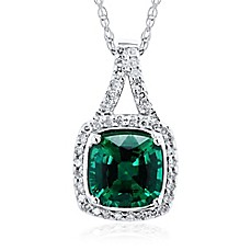 image of 10K White Gold .16 cttw Diamond and Cushion Cut Lab-Created Emerald 18-Inch Chain Pendant Necklace