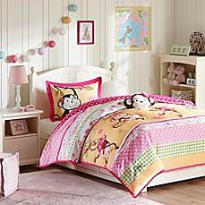 image of mizone kids monkey business comforter set in pink