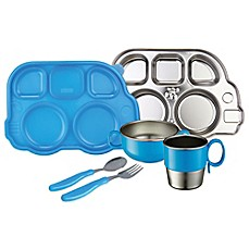 image of Innobaby Din Din SMART™ 7-Piece Stainless Steel Mealtime Set in Blue