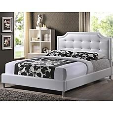 image of carlotta designer bed with upholstered headboard