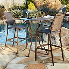 Image Of Panama Jack Island Cove Wicker 3 Piece Outdoor Pub Table Set