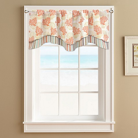 Coral Castaway Double Layer Valance