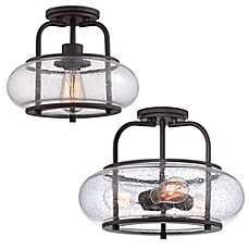 image of Quoizel Trilogy Semi-Flush Mount Light in Bronze with Seedy Glass Shade