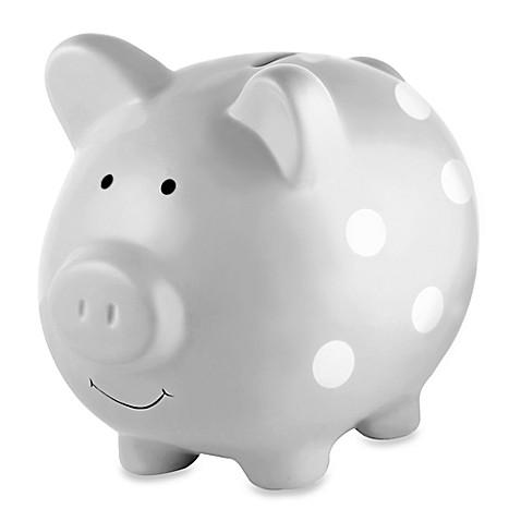 Buy Pearhead Medium Ceramic Polka Dot Piggy Bank In Grey