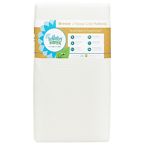image of lullaby earth breeze breathable 2stage crib mattress in white