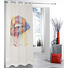 image of Tag City 84-Inch Drippy Multicolor Lips Print Sheer Window Curtain Panel in White