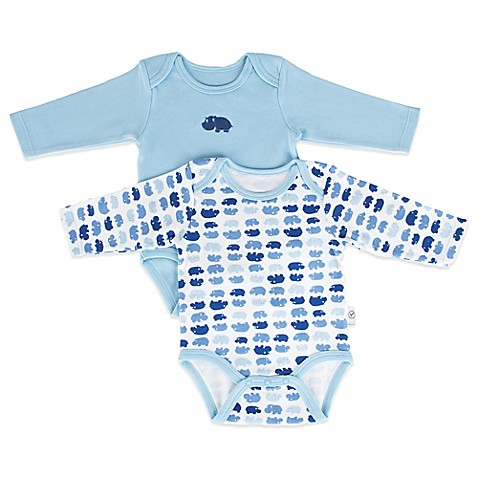 Tadpoles™ by Sleeping Partners Mod Zoo Size 6-12M 2-Pack Long Sleeve Bodysuit in Blue Hippo