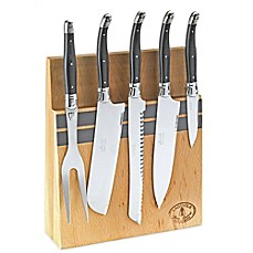 image of Laguiole 5-Piece Kitchen Knife Set with Magnetic Block in Black