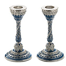 image of Capri Blue Jeweled Enamel Candlesticks (Set of 2)