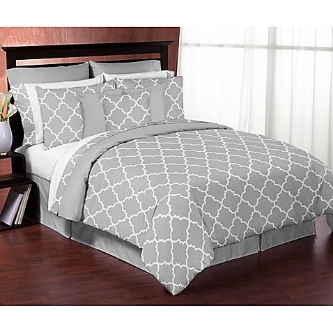 Sweet Jojo Designs Trellis Comforter Set In Grey White
