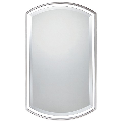 brushed nickel framed bathroom mirror buy quoizel 174 breckenridge 35 inch x 21 inch mirror in 22825