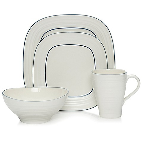 Mikasa® Swirl Square Banded Dinnerware Collection in Blue - Bed Bath ...