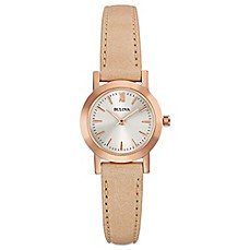 image of Bulova Classic Ladies' 24mm Dress Watch in Rose Goldtone Stainless Steel with Tan Leather Strap