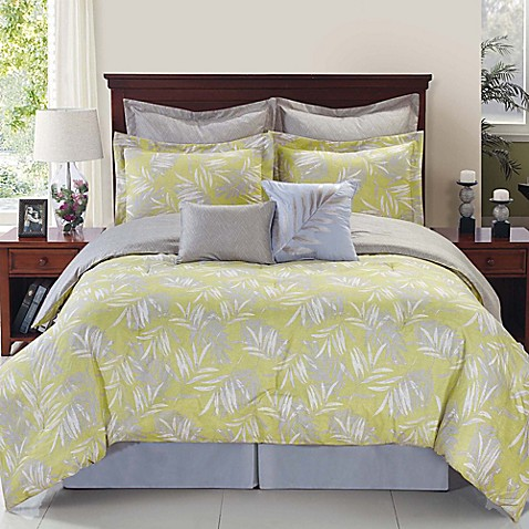 twin bed sheets palmetto citron reversible comforter set in yellow silver 30295