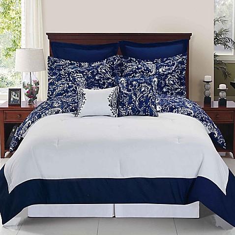 Enzo Reversible Comforter Set In Navy White Bed Bath