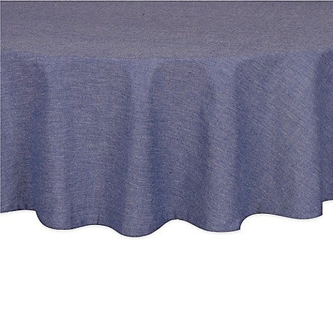 Buy Chambray 70 Inch Round Tablecloth In Navy From Bed