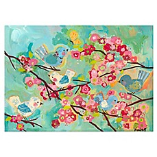image of Oopsy Daisy Cherry Blossom Birdies Multicolor Canvas Wall Art
