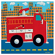 image of Oopsy Daisy Fire Truck Canvas Wall Art in Red