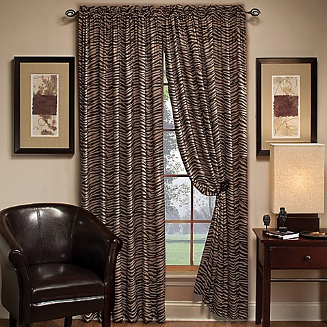 Zebra 84-Inch Window Curtain Panel in Chocolate/Mocha