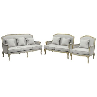 image of Baxton Studio Constanza Classic Antiqued 3-Piece French Sofa Set