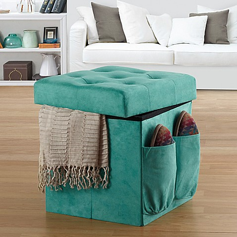 Anthology sit store folding ottoman in tufted aqua for Ottoman to sit on