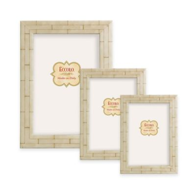 image of Eccolo™ Marquetry Wall Picture Frame in Bone