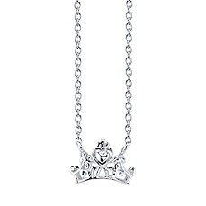 image of Disney® Sterling Silver 18-Inch Chain Princess Crown Pendant Necklace