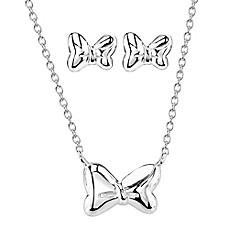 image of Disney® Minnie Mouse Silver 18-Inch Chain Pendant Necklace and Earring Set