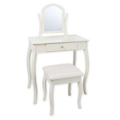 Traditional Vanity Set in Ivory  sc 1 st  Bed Bath u0026 Beyond : vanity set with chair - Cheerinfomania.Com